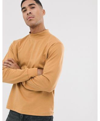 Another Influence high neck long sleeve top-Tan