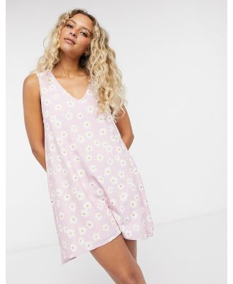 Another Reason mini smock dress in pink daisy print