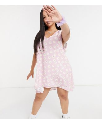 Another Reason Plus mini smock dress in pink daisy print