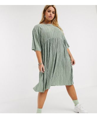 Another Reason Plus plisse babydoll dress with tie up back detail-Green