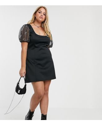 Another Reason Plus square neck mini dress with organza puff sleeves-Black
