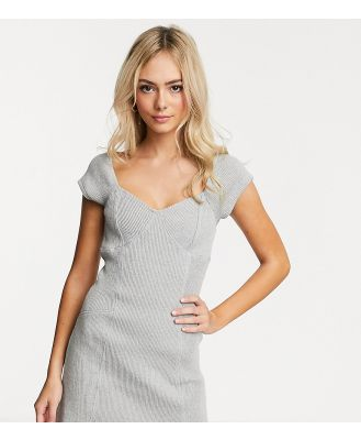 Another Reason square neck mini dress with contrast seams in chunky rib-Grey
