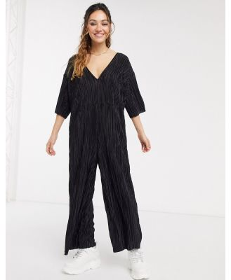 Another Reason wide leg plisse jumpsuit with deep plunge-Black