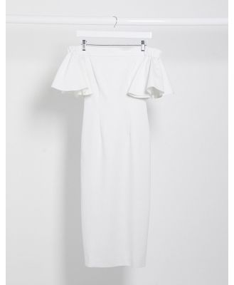 AQAQ bardot ruffle sleeve midi dress in white
