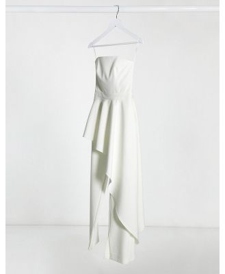 AQAQ frill jumpsuit in ivory-White