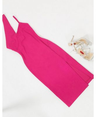 AQAQ midi dress with cut out detail in pink
