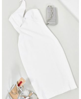 AQAQ midi dress with cut out detail in white