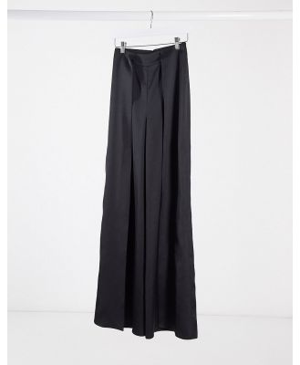 AQAQ spit front high waisted pants-Black