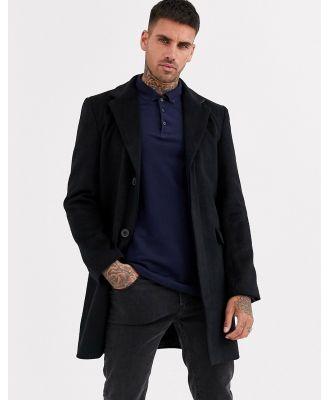 Aray single breasted overcoat-Black