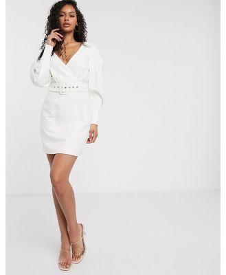 Aria Cove long sleeve wrap front belted blazer dress in white
