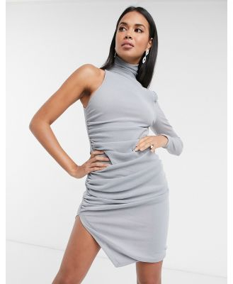 Aria Cove one-sleeve drape mini dress in silver