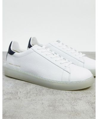 Armani Exchange simple logo sneakers in white