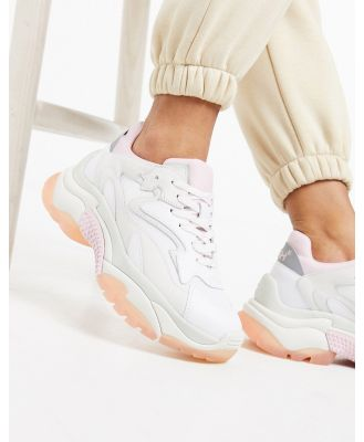 ASH Addict leather chunky sole sneakers in white with pastel