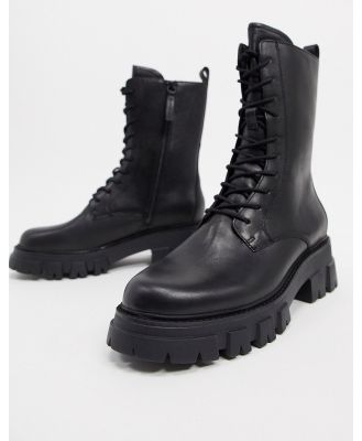 Ash Liam chunky lace-up calf boot in black
