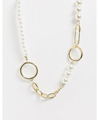 Ashiana chain and pearl necklace-Gold