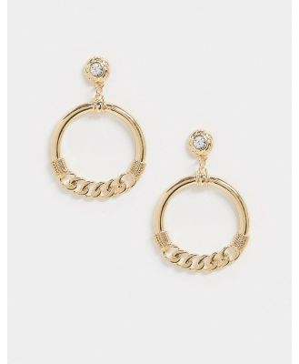 Ashiana chain hoop drop down earrings-Gold