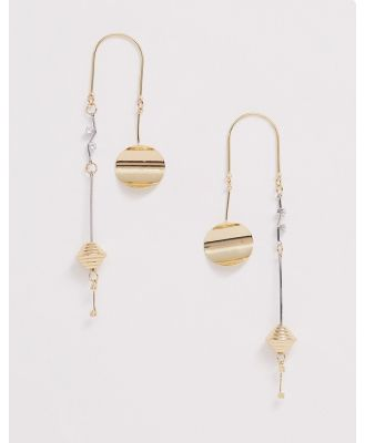 Ashiana gold abstract drop down earrings