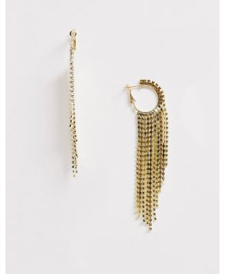 Ashiana gold diamante hoop and chain earrings