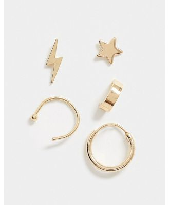Ashiana Lightening Bolt Earrings In Gold
