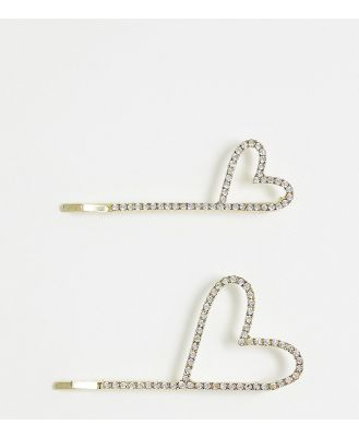 Ashiana Love Heart Diamonte Hair Slides In Gold