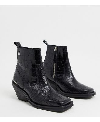 ASRA Exclusive Maverick square toe ankle boots in mock croc leather-Black