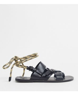 ASRA Exclusive Sarah gladiator sandals with rope tie in black leather