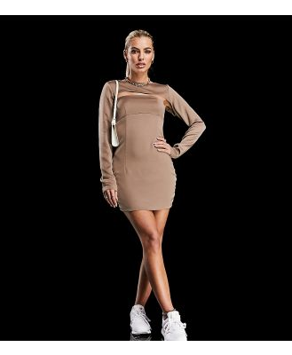 AS YOU satin mini shift dress with shrug in taupe-Pink