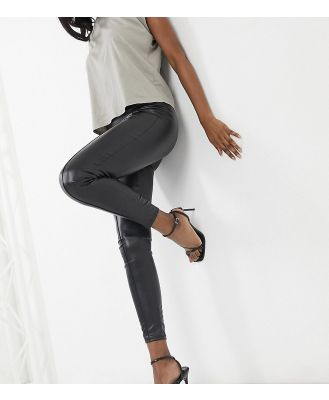 ASYOU cigarette faux leather pants in black
