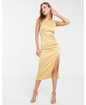 Atoir forget the night strappy back midi dress in polka dot-Yellow