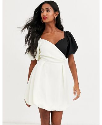 Atoir lost to the night puff sleeve contrast mini dress-Cream