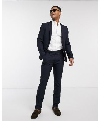 Avail London skinny fit suit jacket in navy with gold buttons