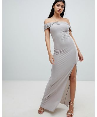 AX Paris bardot maxi dress with side split-Grey
