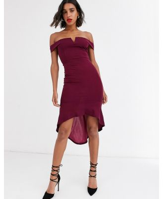AX Paris bardot midi dress with notch detail-Purple