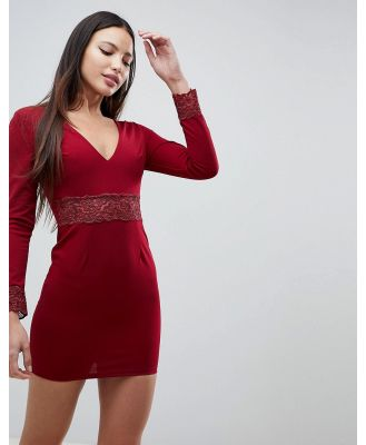 AX Paris Long Sleeve V Neck Dress With Lace Detail - Red