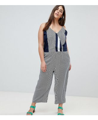 AX Paris Plus Irregular Stripe Jumpsuit-Multi
