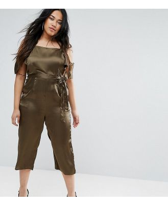 AX Paris Plus Satin Jumpsuit - Green