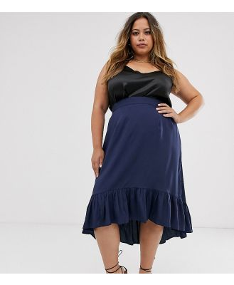 AX Paris Plus split front midi skirt-Navy