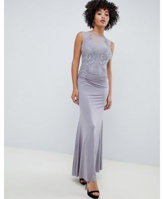 AX Paris racer neck maxi dress with lace detail-Grey