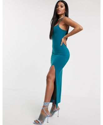 AYM Premium cami strap maxi dress with thigh split in teal-Blue