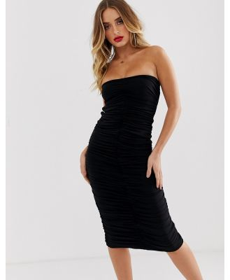 AYM premium ruched bodycon midaxi dress with lace up back in black