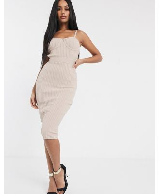 Band Of Stars bandage ribbed midi pencil dress with cage back in biscuit-Brown