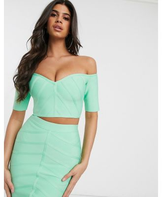 Band Of Stars bandage short sleeve crop top in mint-Blue