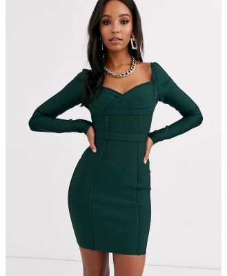 Band Of Stars extreme bandage bardot neck panelled mini dress in forest green