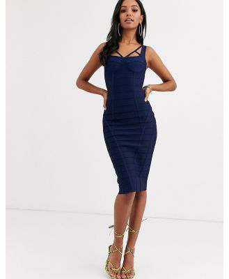Band Of Stars extreme bandage strappy bust panelled midi dress in navy-Blue