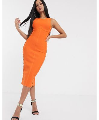 Band Of Stars lace up side midi pencil dress in orange
