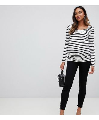Bandia Maternity Over The Bump Legging With Zip Detail - Black