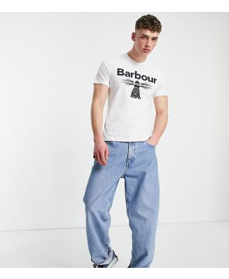 Barbour Beacon large logo t-shirt in white Exclusive to ASOS