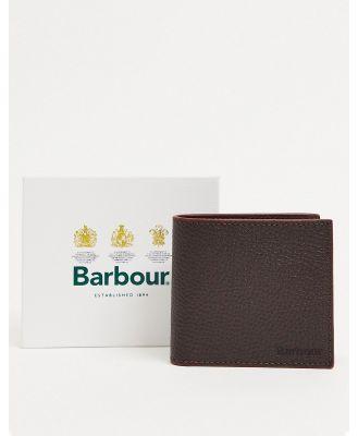 Barbour grain leather billfold wallet in brown