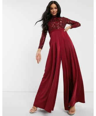 Bariano long sleeved wide leg jumpsuit with embellished top in deep red