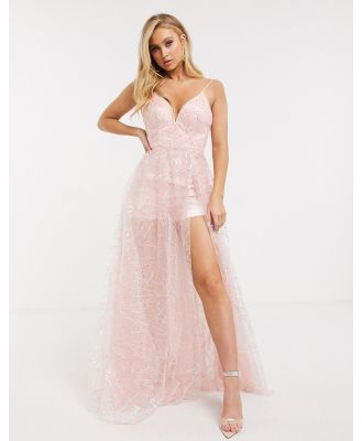 Bariano mesh sequin cami strap maxi dress in blush-Pink